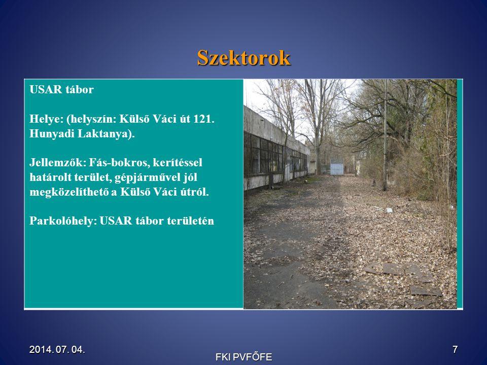 Szektorok USAR tábor Helye: (helyszín: Külső Váci út 121.