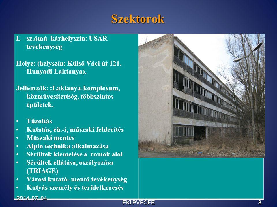 Szektorok sz.ámú kárhelyszín: USAR tevékenység