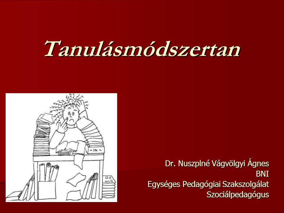 Tanulásmódszertan Dr. Nuszplné Vágvölgyi Ágnes BNI