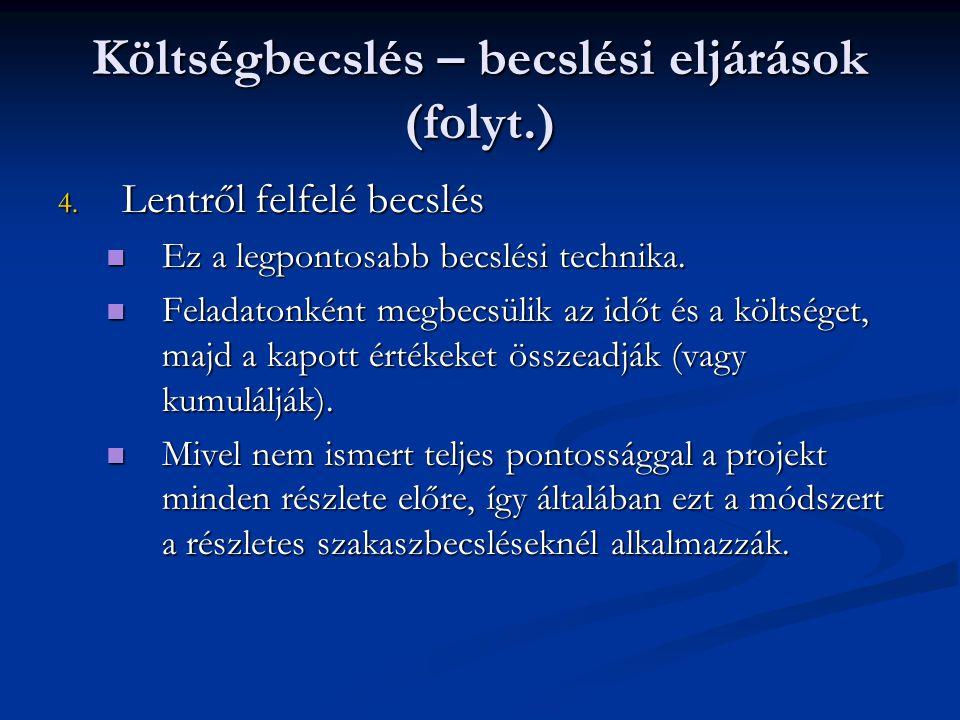 Költségbecslés – becslési eljárások (folyt.)