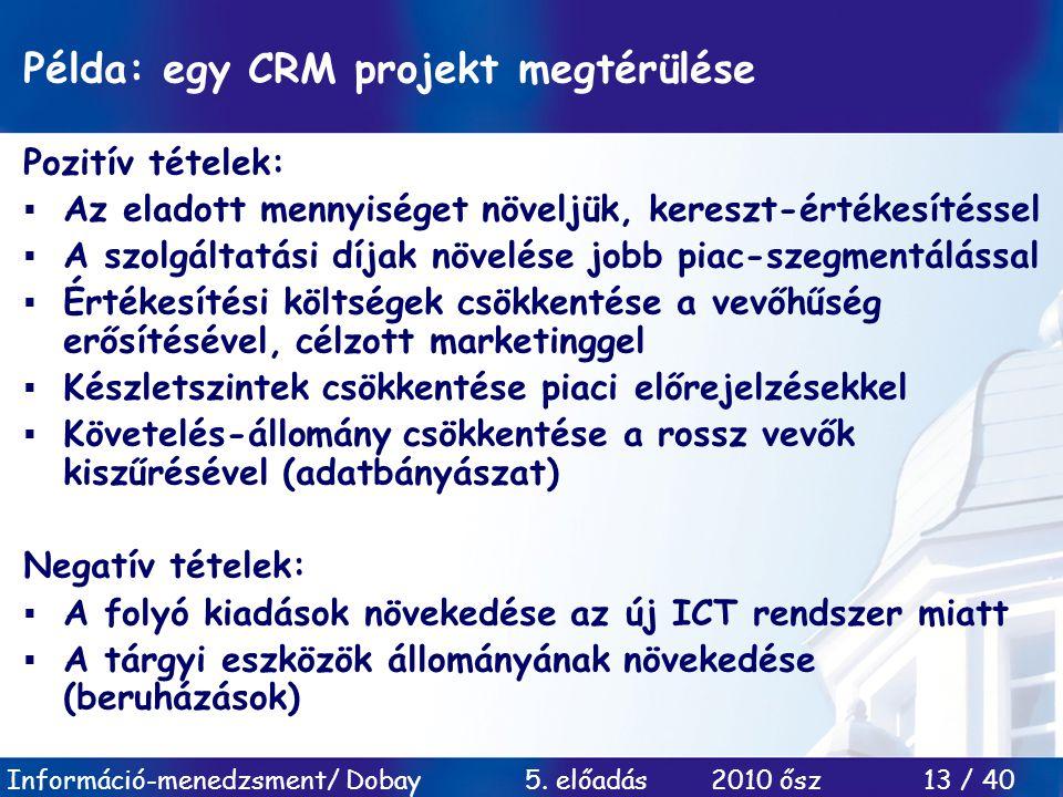 Példa: egy CRM projekt megtérülése