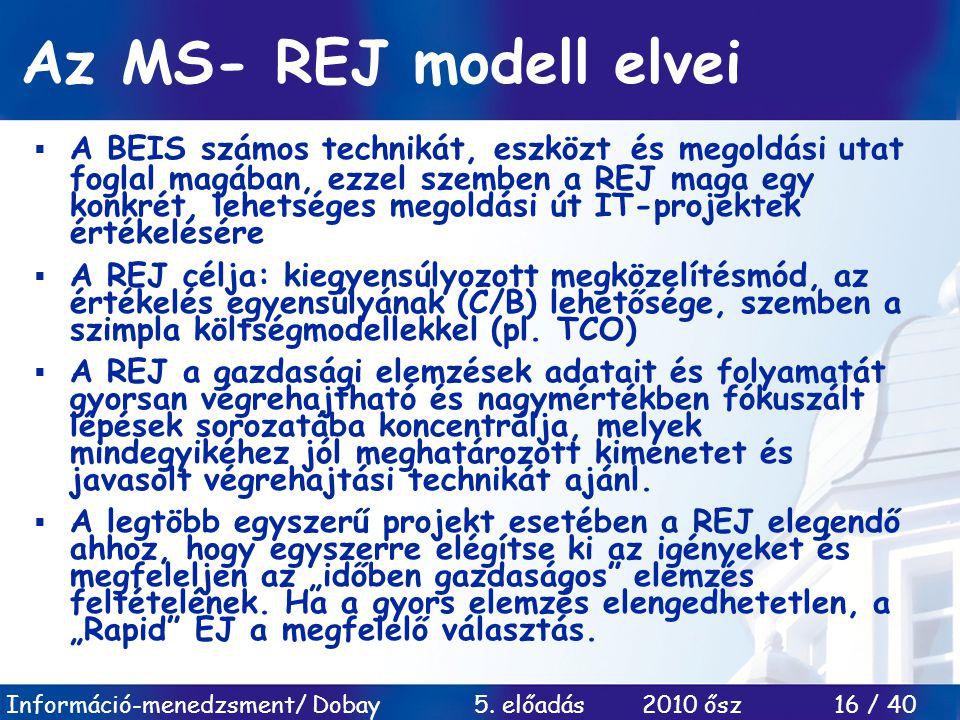 Az MS- REJ modell elvei