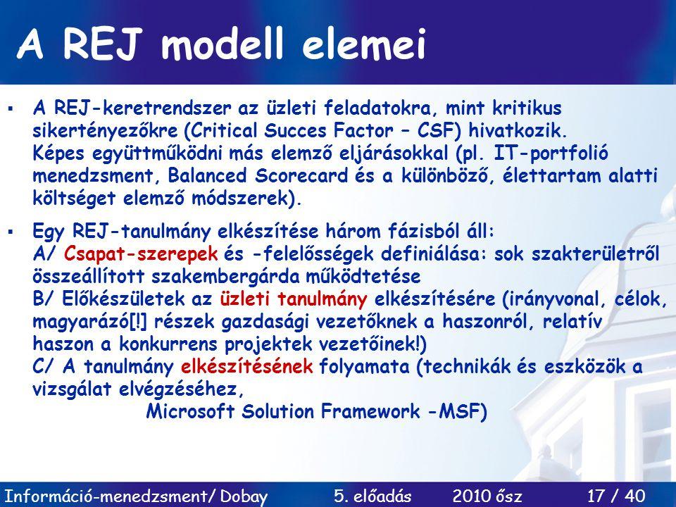 A REJ modell elemei