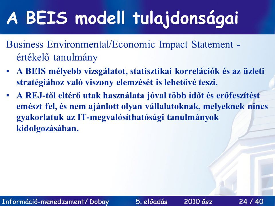 A BEIS modell tulajdonságai