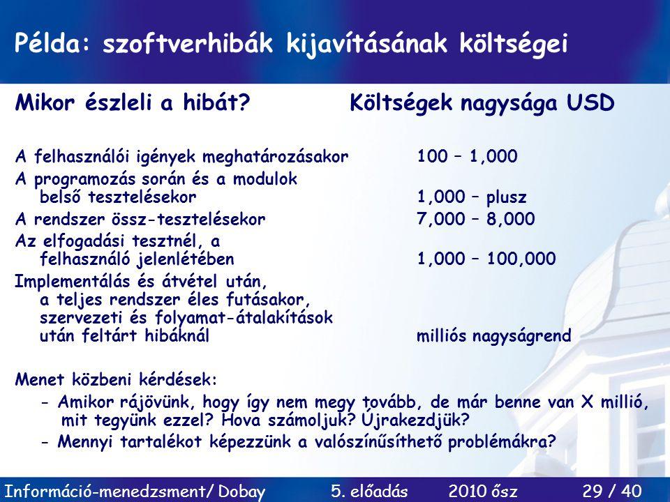 Példa: szoftverhibák kijavításának költségei