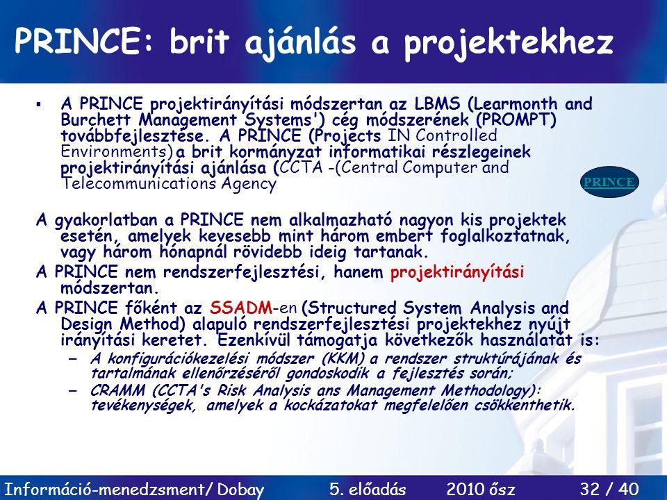 PRINCE: brit ajánlás a projektekhez