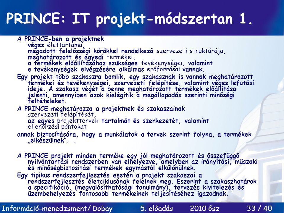 PRINCE: IT projekt-módszertan 1.
