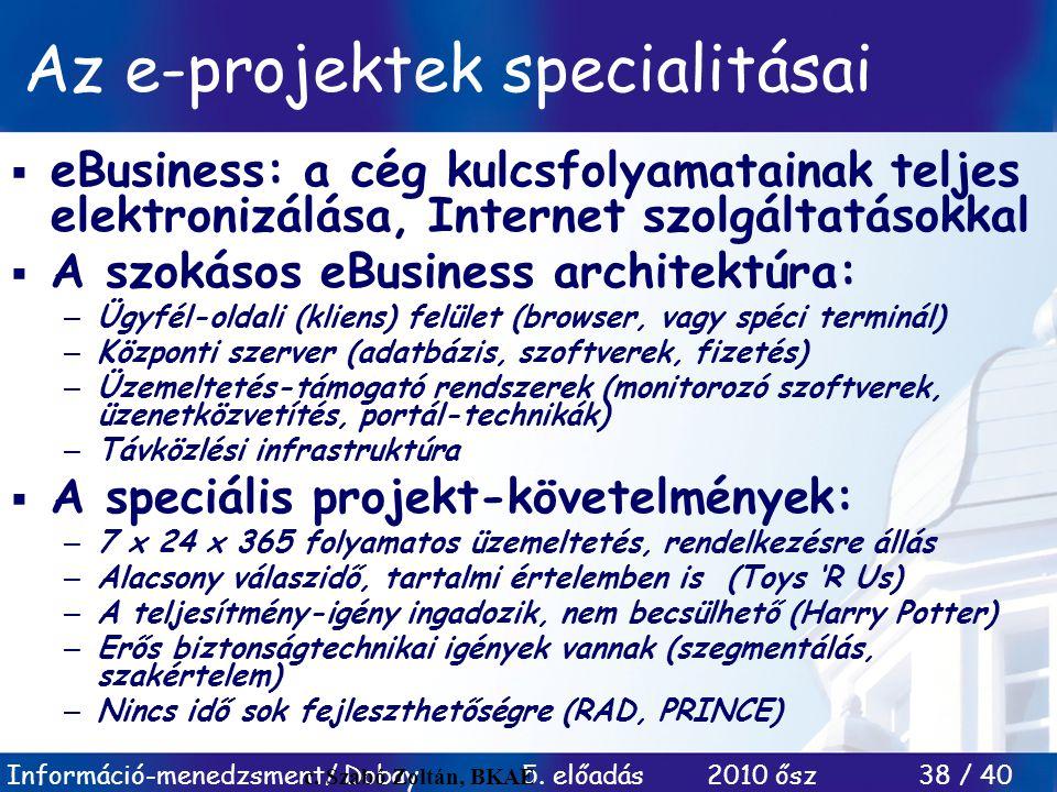 Az e-projektek specialitásai