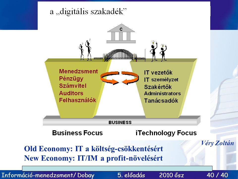 Old Economy: IT a költség-csökkentésért