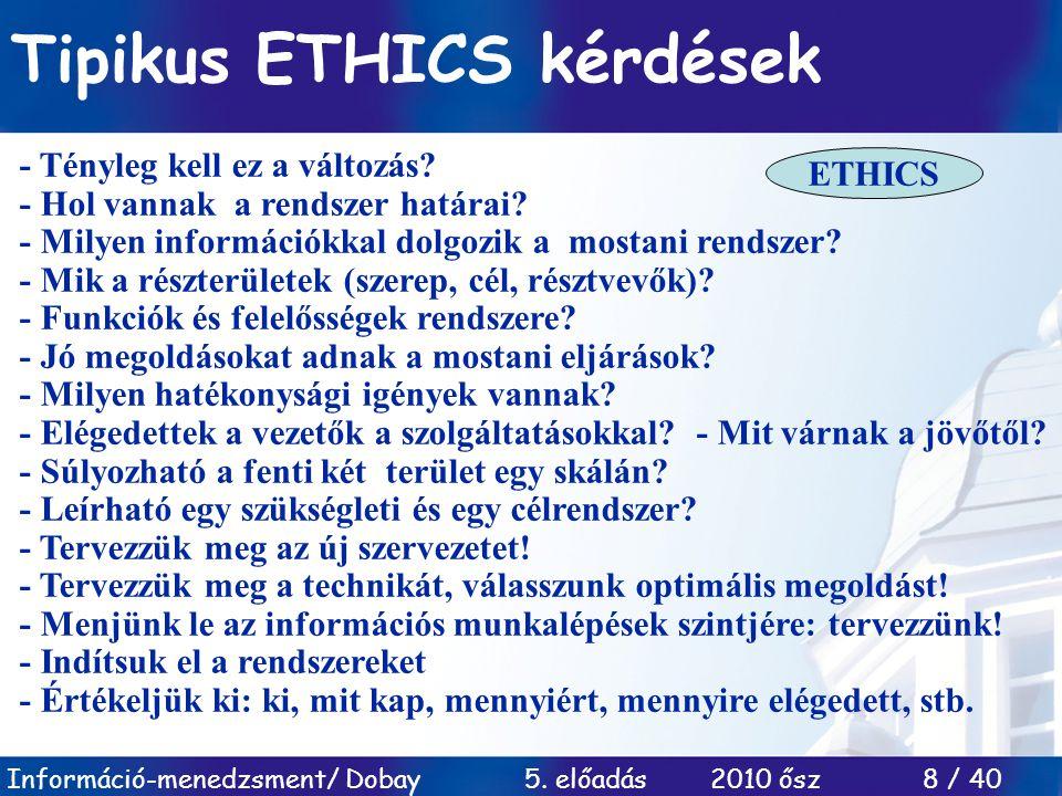 Tipikus ETHICS kérdések