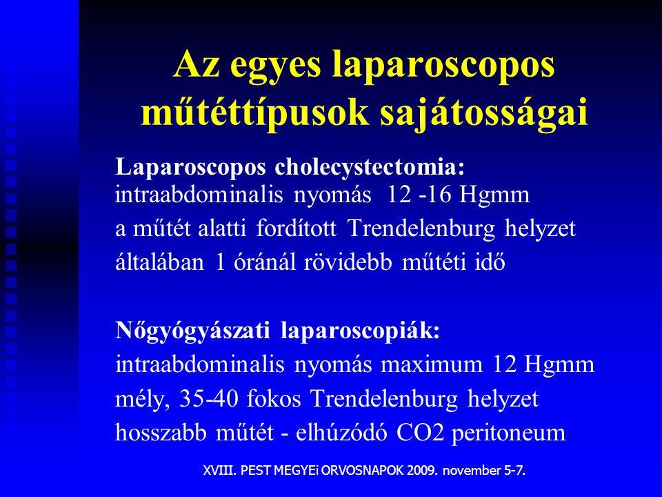 Az egyes laparoscopos műtéttípusok sajátosságai