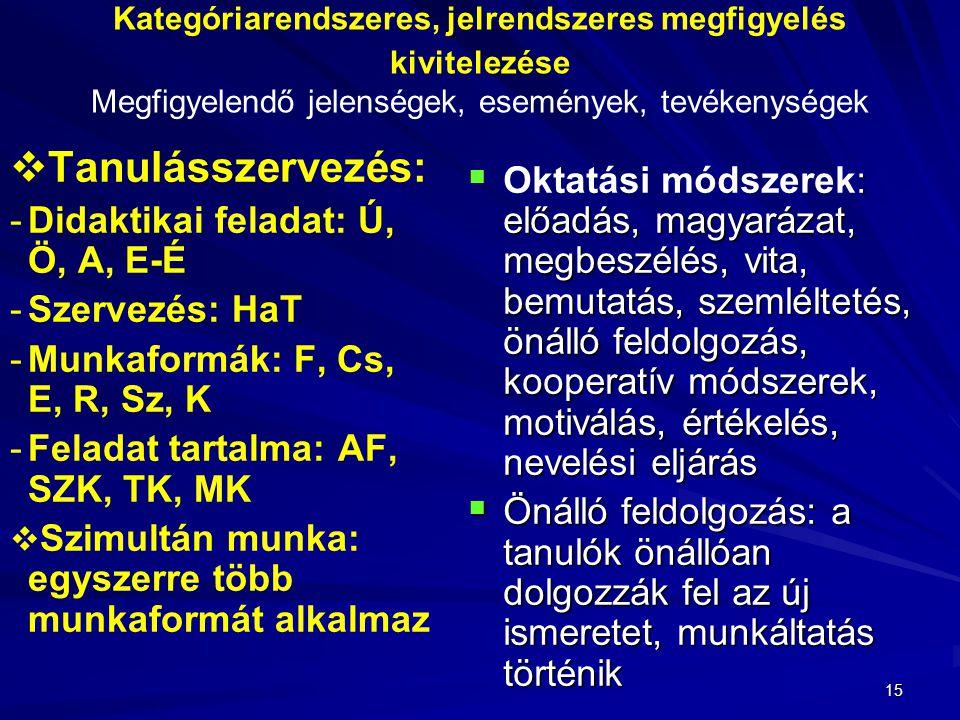 Kategóriarendszeres, jelrendszeres megfigyelés kivitelezése Megfigyelendő jelenségek, események, tevékenységek