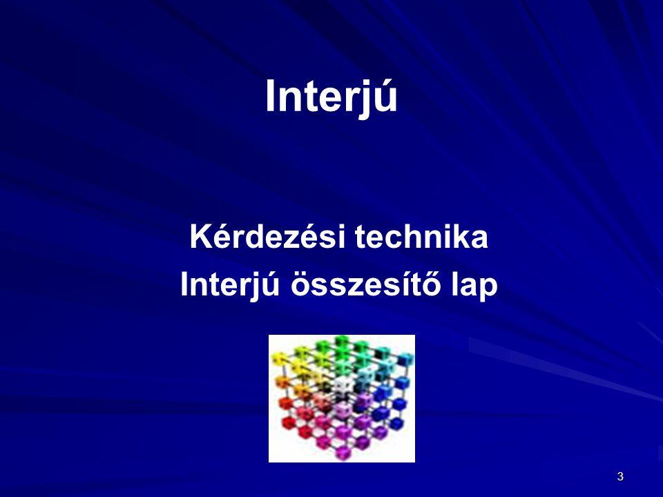 Kérdezési technika Interjú összesítő lap