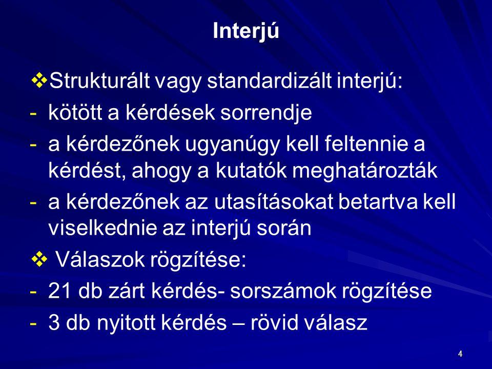 Interjú Strukturált vagy standardizált interjú: kötött a kérdések sorrendje.