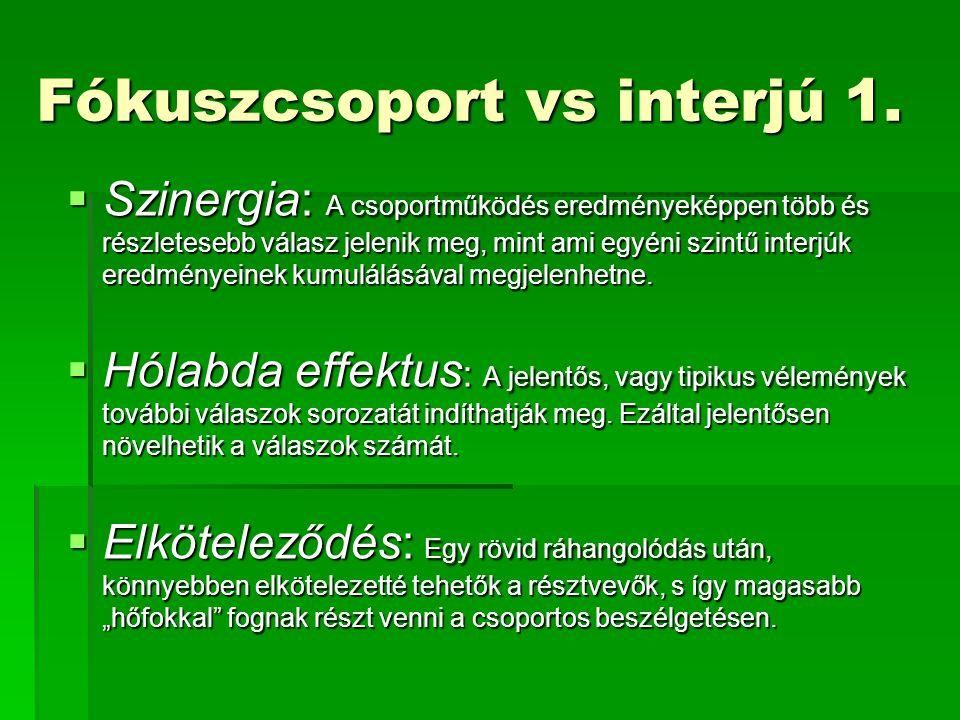 Fókuszcsoport vs interjú 1.