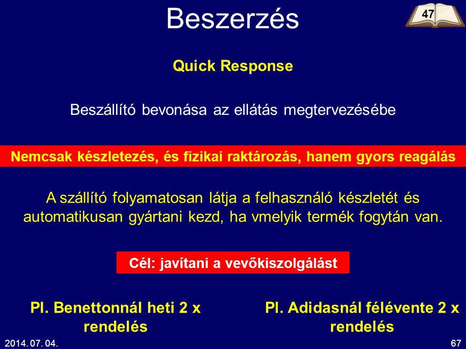 Beszerzés Quick Response Beszállító bevonása az ellátás megtervezésébe