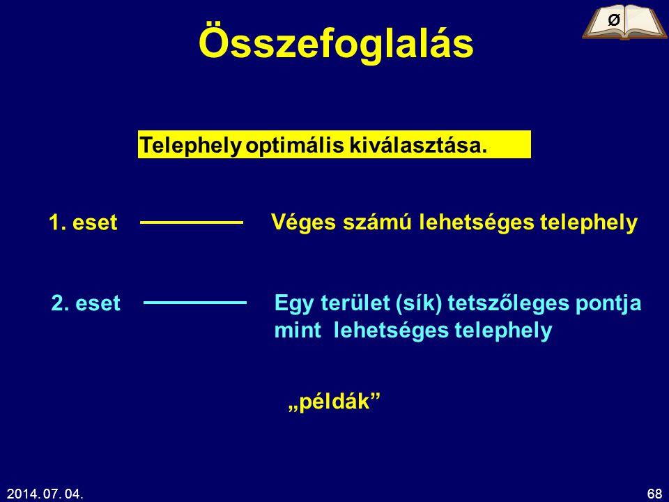 Összefoglalás Telephely optimális kiválasztása. 1. eset