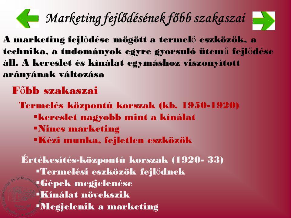 Marketing fejlődésének főbb szakaszai