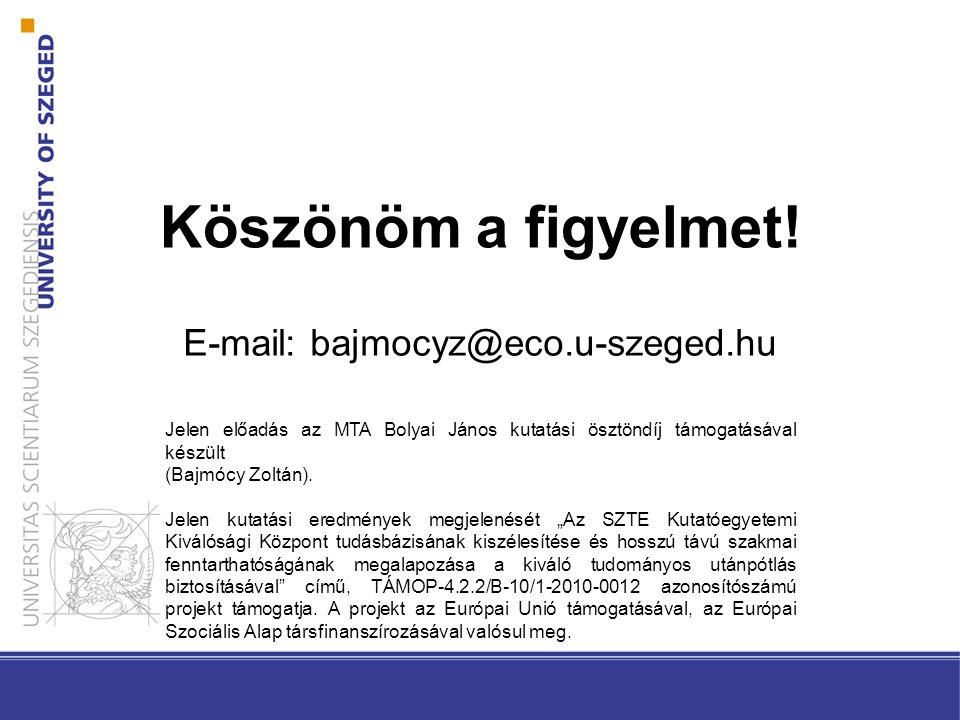 E-mail: bajmocyz@eco.u-szeged.hu
