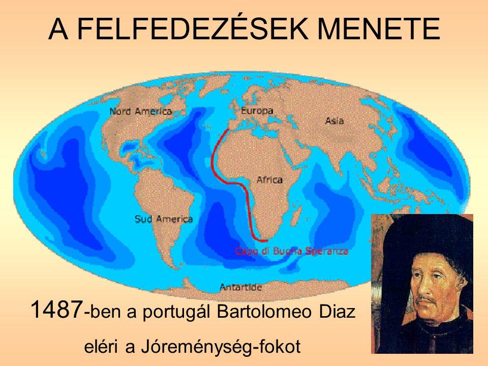 A FELFEDEZÉSEK MENETE 1487-ben a portugál Bartolomeo Diaz