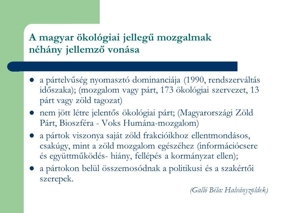 A magyar ökológiai jellegű mozgalmak néhány jellemző vonása