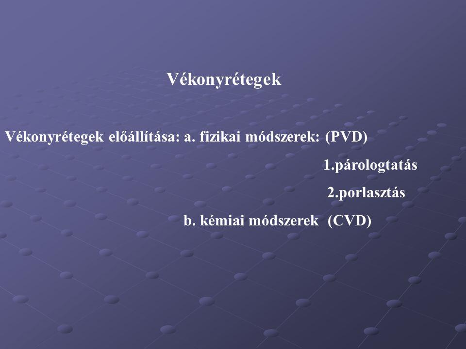 Vékonyrétegek Vékonyrétegek előállítása: a. fizikai módszerek: (PVD)