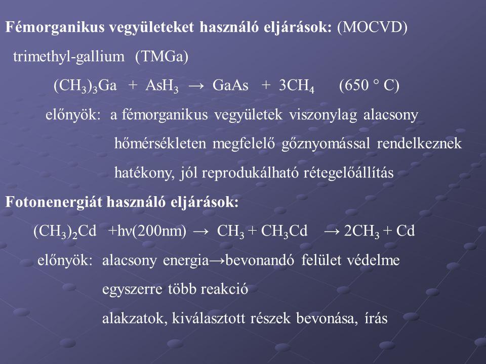 Fémorganikus vegyületeket használó eljárások: (MOCVD)