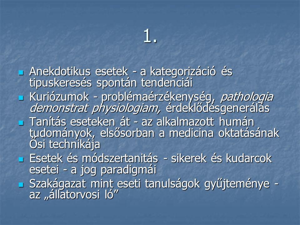 1. Anekdotikus esetek - a kategorizáció és tipuskeresés spontán tendenciái.