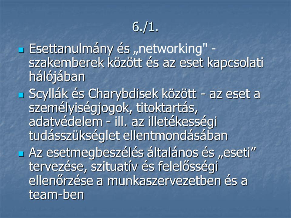 """6./1. Esettanulmány és """"networking - szakemberek között és az eset kapcsolati hálójában."""