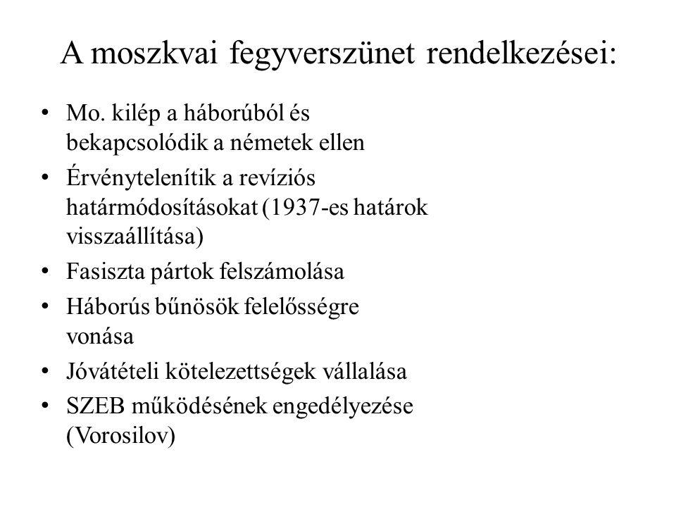 A moszkvai fegyverszünet rendelkezései: