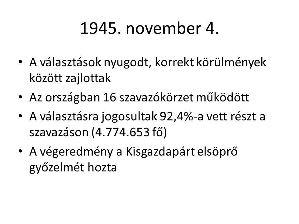 1945. november 4. A választások nyugodt, korrekt körülmények között zajlottak. Az országban 16 szavazókörzet működött.