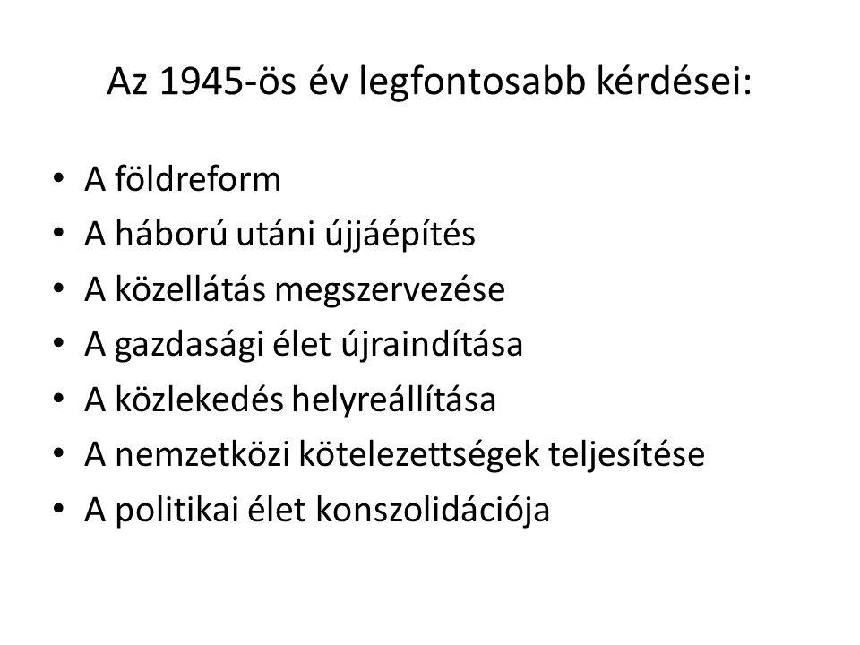 Az 1945-ös év legfontosabb kérdései: