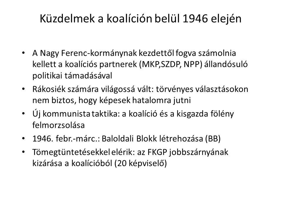 Küzdelmek a koalíción belül 1946 elején
