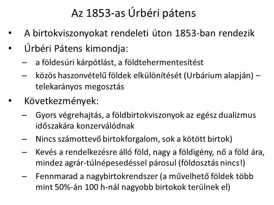 Az 1853-as Úrbéri pátens A birtokviszonyokat rendeleti úton 1853-ban rendezik. Úrbéri Pátens kimondja: