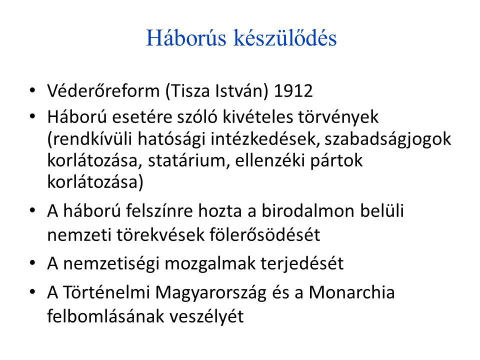 Háborús készülődés Véderőreform (Tisza István) 1912