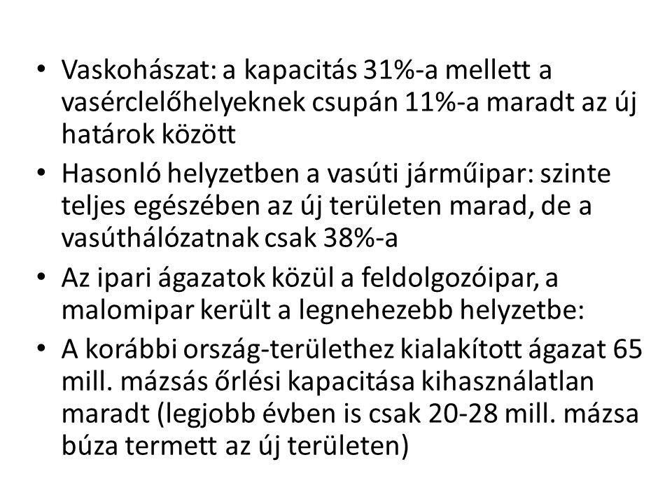 Vaskohászat: a kapacitás 31%-a mellett a vasérclelőhelyeknek csupán 11%-a maradt az új határok között