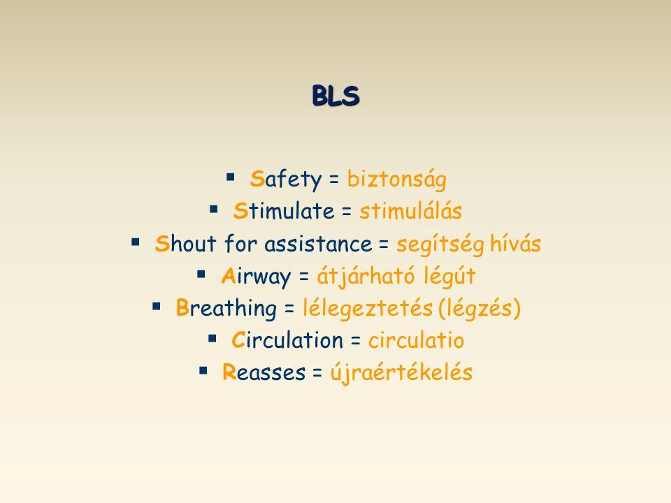 BLS Safety = biztonság Stimulate = stimulálás