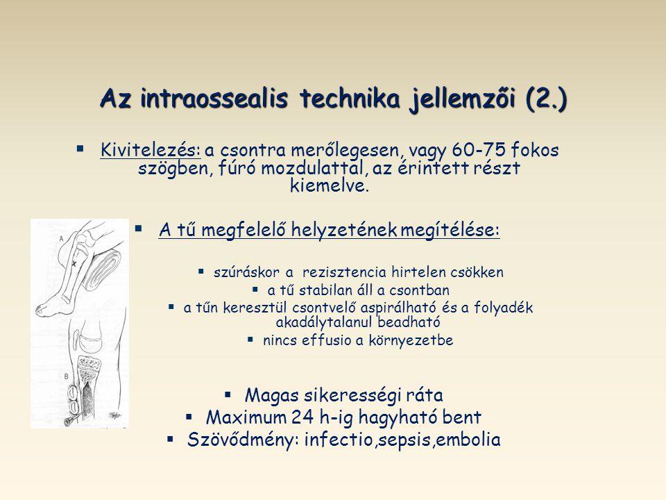 Az intraossealis technika jellemzői (2.)
