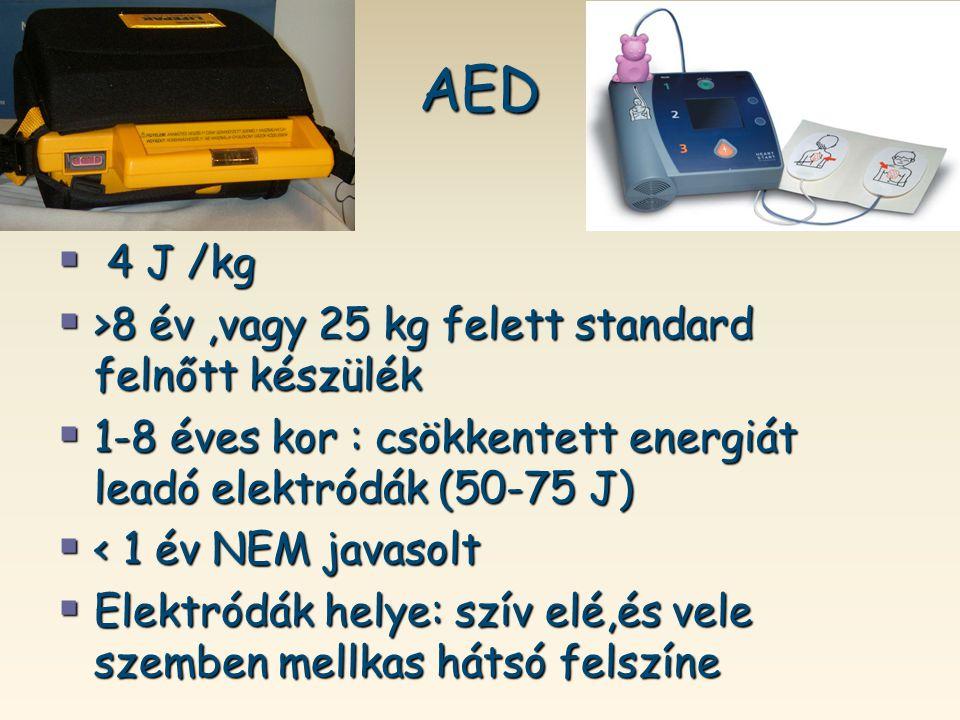 AED 4 J /kg >8 év ,vagy 25 kg felett standard felnőtt készülék