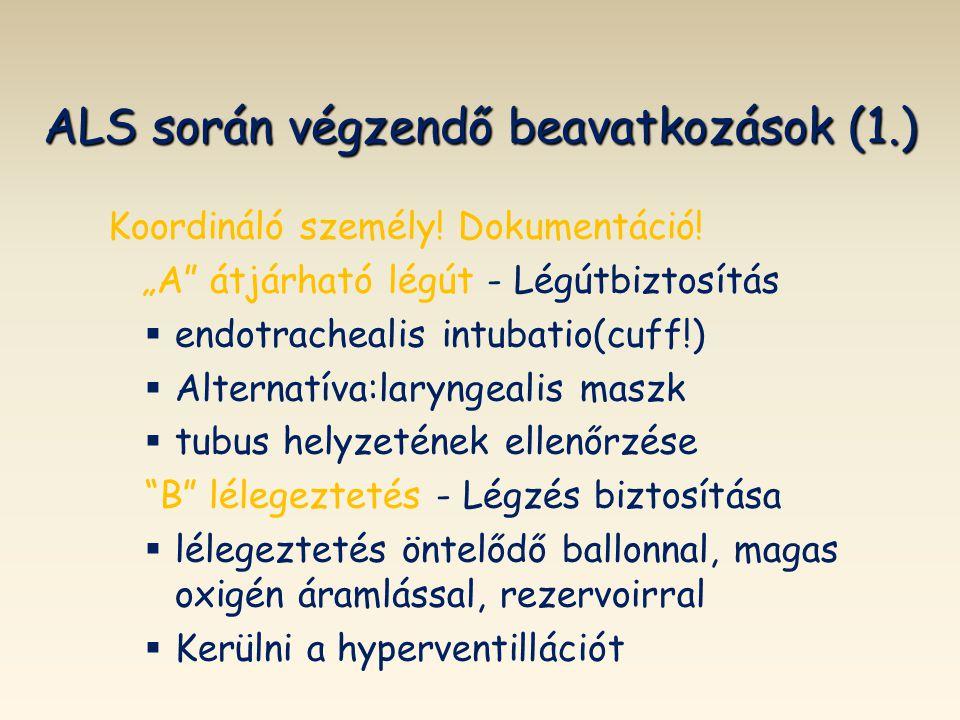 ALS során végzendő beavatkozások (1.)