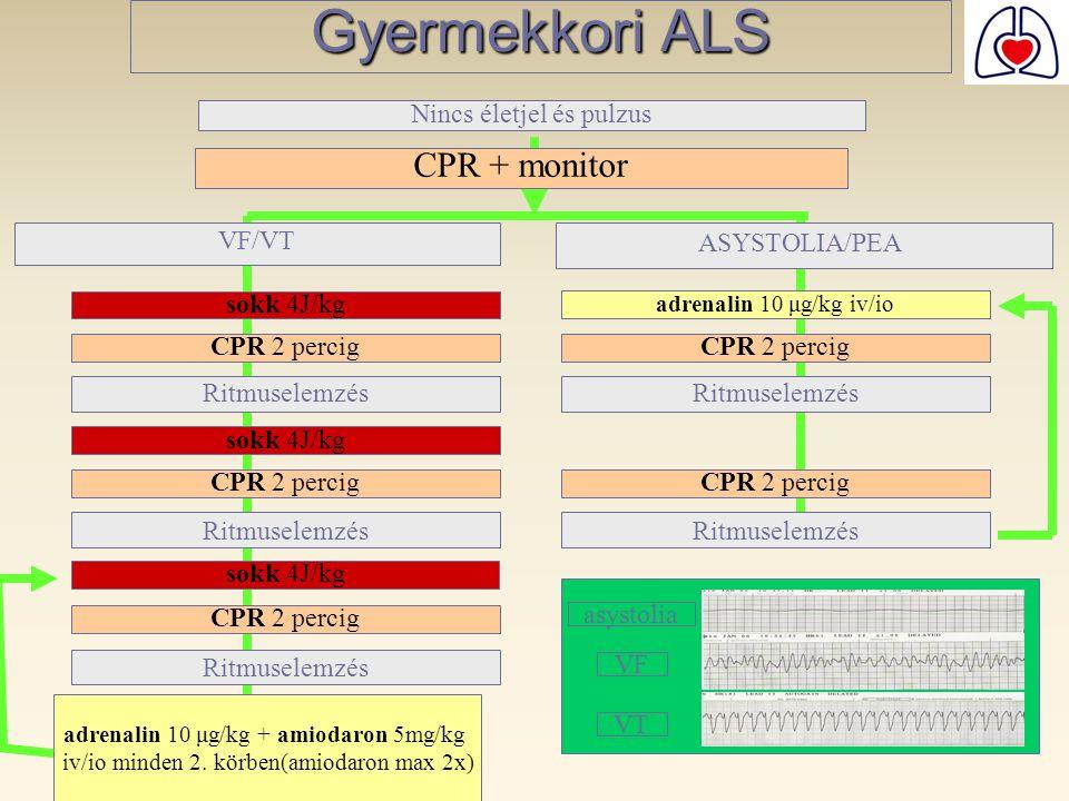 Gyermekkori ALS CPR + monitor Nincs életjel és pulzus VF/VT