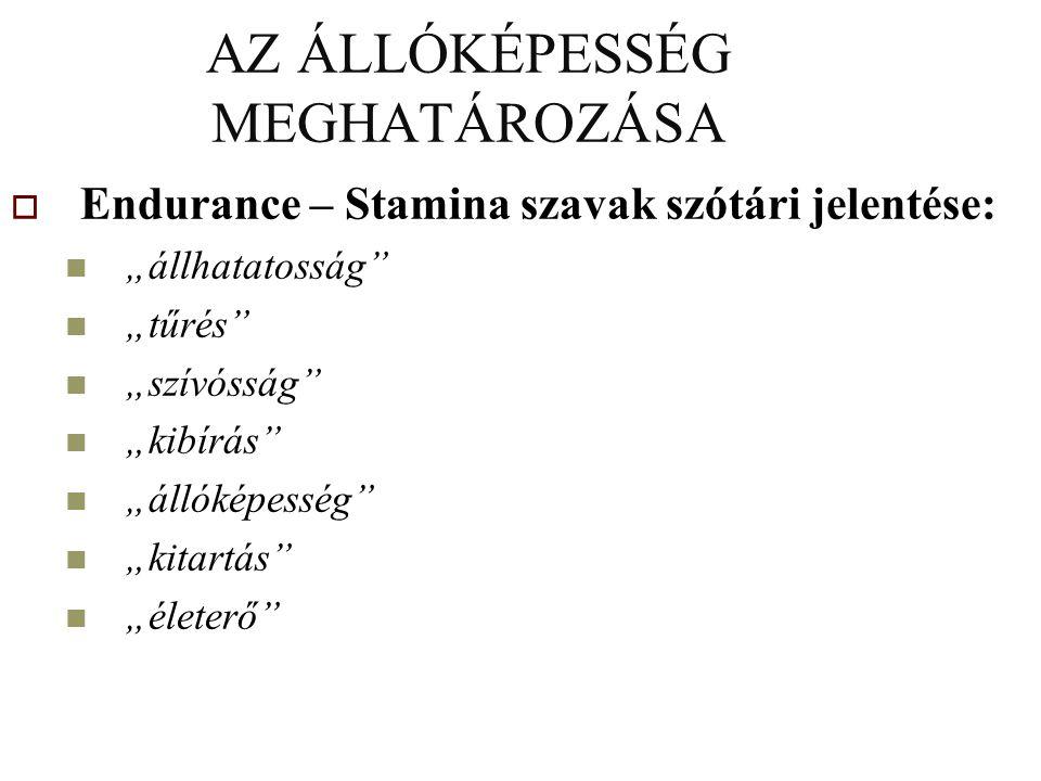 AZ ÁLLÓKÉPESSÉG MEGHATÁROZÁSA