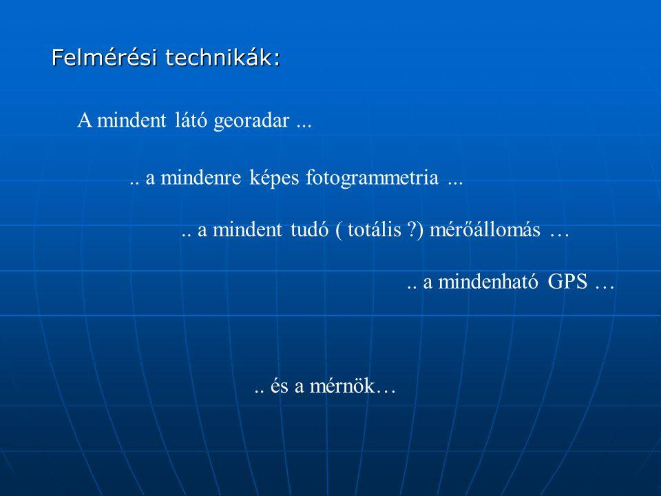 Felmérési technikák: A mindent látó georadar ... .. a mindenre képes fotogrammetria ... .. a mindent tudó ( totális ) mérőállomás …