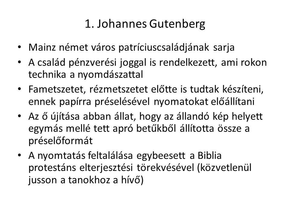 1. Johannes Gutenberg Mainz német város patríciuscsaládjának sarja