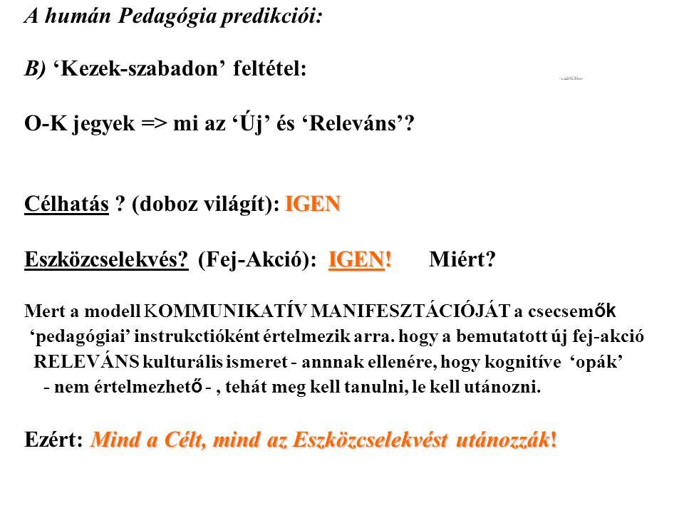 A humán Pedagógia predikciói: B) 'Kezek-szabadon' feltétel: