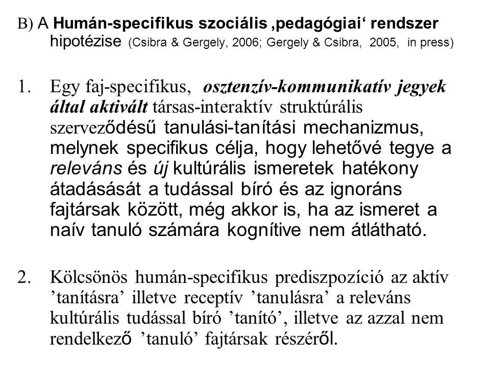 B) A Humán-specifikus szociális 'pedagógiai' rendszer hipotézise (Csibra & Gergely, 2006; Gergely & Csibra, 2005, in press)