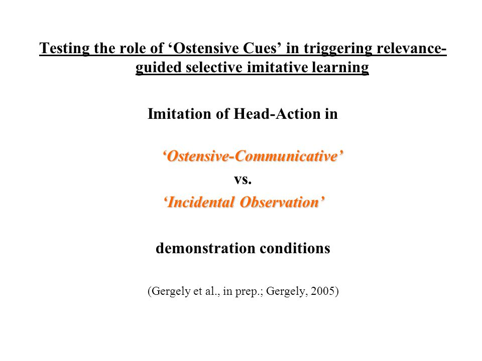 Imitation of Head-Action in 'Ostensive-Communicative' vs.