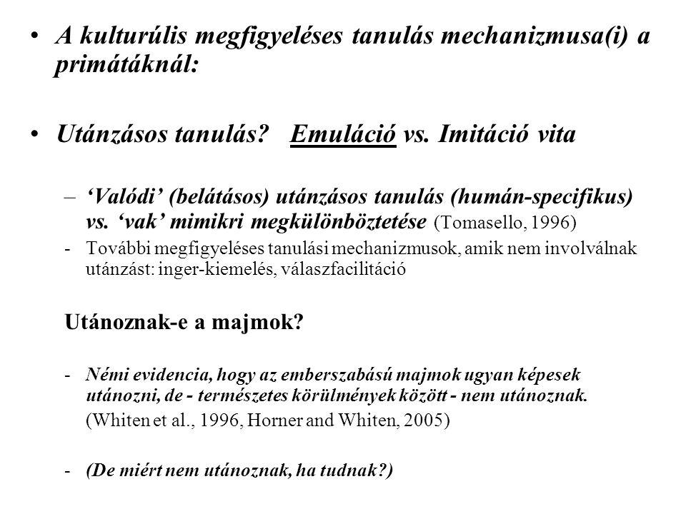 A kulturúlis megfigyeléses tanulás mechanizmusa(i) a primátáknál:
