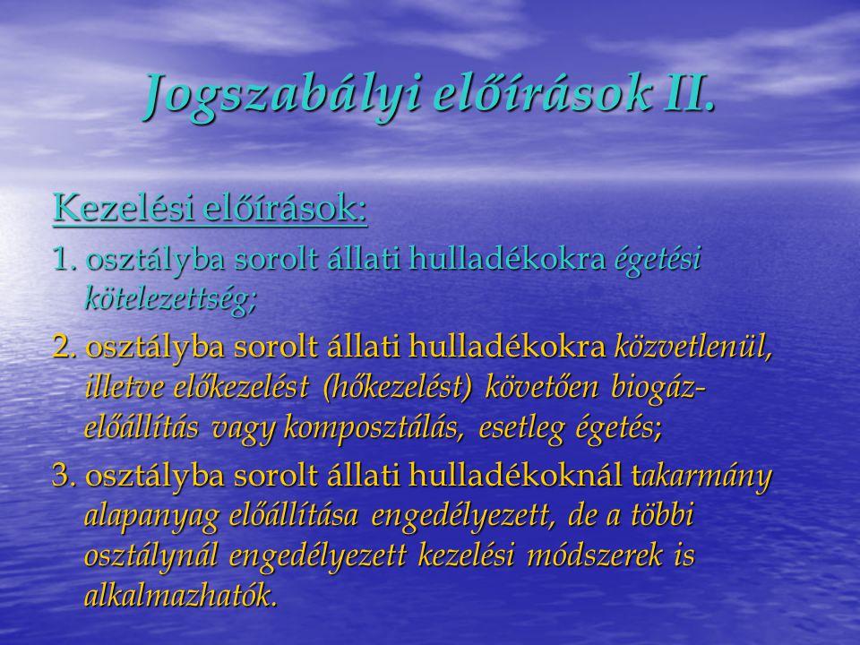 Jogszabályi előírások II.