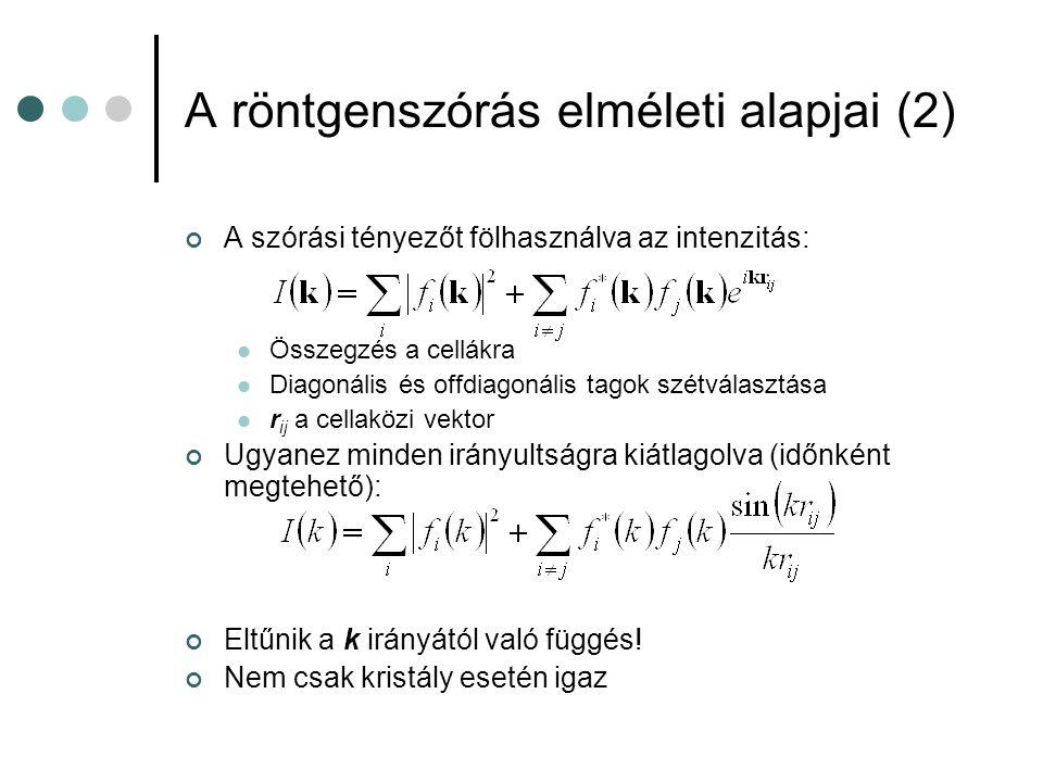 A röntgenszórás elméleti alapjai (2)